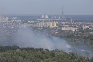 В Киеве горит трава на Трухановом острове