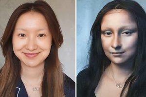 Видеохит: китаянка превратила себя в Мону Лизу