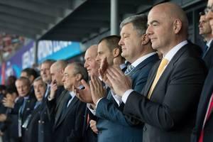 Президенты Украины и Эстонии, премьер Болгарии и король Испании на стадионе в Киеве наблюдают за игрой финалистов ЛЧ-2018