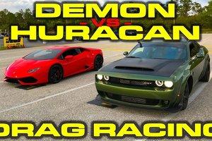 Dodge Demon против Lamborghini Huracan: видео