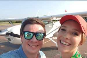 Катерина Осадчая и Дмитрий Комаров совершили полет над Киевом