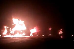 В Днепре на ходу загорелся грузовик с пьяным водителем за рулем