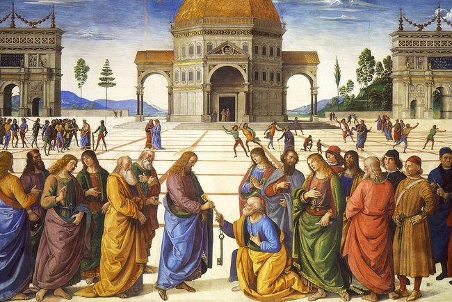Пьетро Перуджино, Вручение ключей апостолу Петру. Фото: из открытых источников