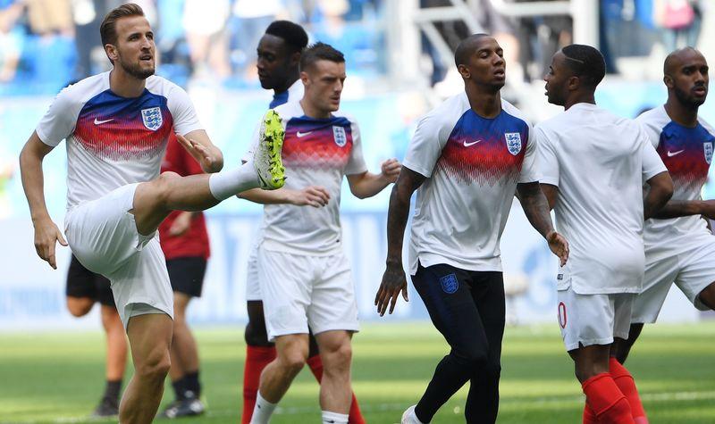 Разминка футболистов сборной Англии перед стартом матча за третье место ЧМ-2018 против Бельгии