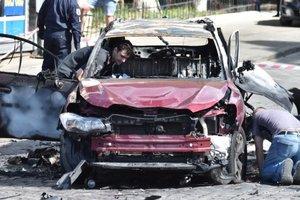 Взорванный автомобиль, в котором находился Шеремет. Фото: архив