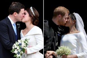 Сравниваем поцелуи: принцесса Евгения с мужем и принц Гарри с Меган Маркл возле часовни
