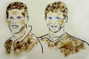 Художница нарисовала грудью скандальных футболистов Мамаева и Кокорина