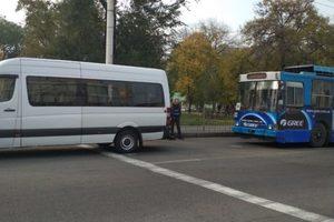 В Запорожье троллейбус протаранил маршрутку: опубликованы фото