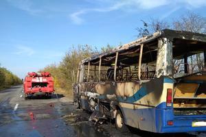 В Днепропетровской области на ходу загорелся автобус с людьми