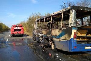 На трассе дотла сгорел пассажирский автобус: появилось новое видео