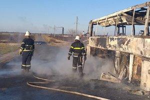 В Днепропетровской области на трассе дотла сгорел пассажирский автобус