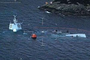 Норвежский фрегат ценой в 650 млн долларов затонул после столкновения с танкером