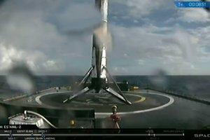В США SpaceX осуществила посадку первой ступени ракеты Falcon 9 на морскую платформу