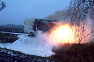 На трассе Новомосковск — Николаевка на ходу загорелся микроавтобус: фото