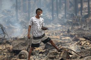 Сильный пожар в Бразилии уничтожил около 600 жилых домов