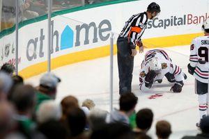 Жуткое видео: игрок НХЛ залил лед кровью