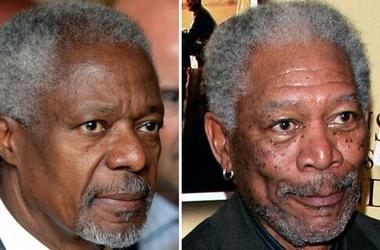 Кофи Аннан раздавал автографы за Моргана Фримена
