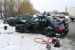 В Киеве джип врезался в скоростной трамвай, а на Одесской трассе столкнулись пять авто