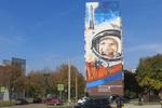 Самым большим граффити в Украине признан портрет Гагарина на доме в Харькове