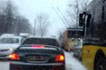 Первый сильный снегопад заблокировал движение в Киеве