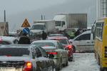 Киев снова стоит в огромных пробках из-за снегопада