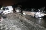 В Харьковской области иномарка протаранила два авто и загорелась