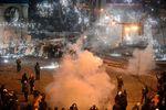 Противостояние митингующих и силовиков в ночь на 21 января
