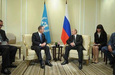 На встрече в Китае Пан Ги Мун и Путин обсудили ситуацию в Украине