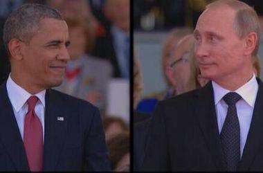 Торжественная церемония в Нормандии: веселый Обама и серьезный Путин