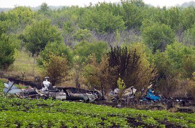 Место падения сбитого вертолета под Славянском