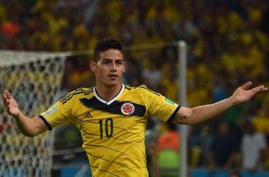 Дубль Хамеса Родригеса выводит Колумбию в четвертьфинал