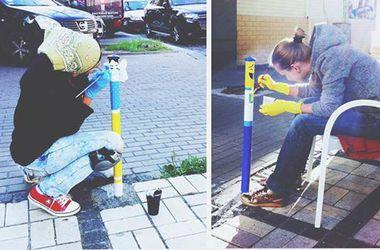 Киевские художницы превратили парковочные столбики в арт-объекты