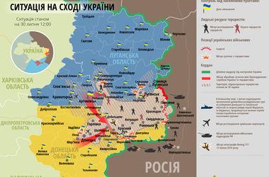 Карта боевых действий АТО: 30 июля