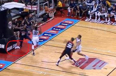 Видео ужасной травмы американского баскетболиста Пола Джорджа