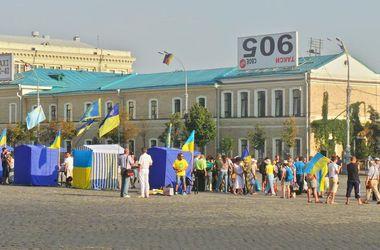 На площади Свободы в Харькове одновременно проходят акции проукраинских и пророссийских активистов