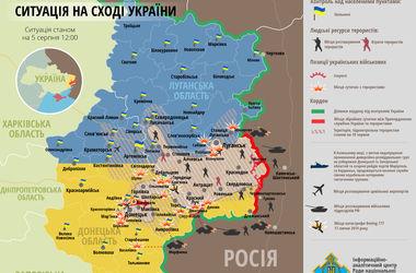 Карта боевых действий в зоне АТО: 5 августа