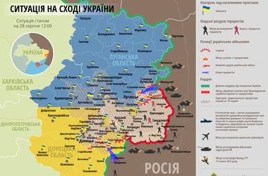 Карта АТО за 28 августа: террористы укрепляют силы для наступления в направлении Шахтерск-Илловайск