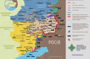 Карта боев в Донбассе за 31 августа: силы АТО 33 раза вступали в бой с террористами и войсками РФ (Инфографика)