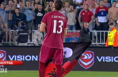 Матч отбора Евро-2016 Сербия - Албания остановили из-за драки футболистов