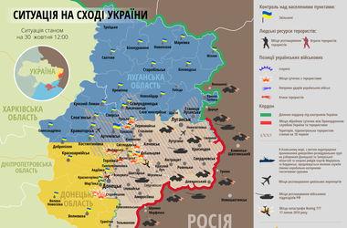 Карта боевых действий АТО: 30 октября
