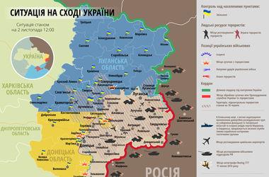 Ситуация в зоне АТО 2 ноября. Карта