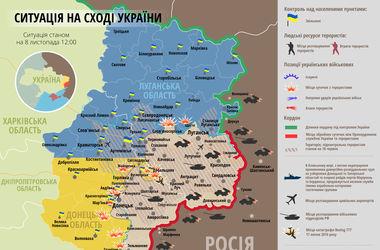 Карта АТО за  8 ноября:  террористы дважды  обстреляли   Донецкий аэропорт
