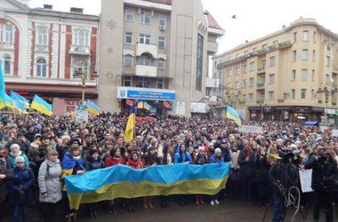 В Ивано-Франковске тысячи людей собрались на вече в честь годовщины Евромайдана