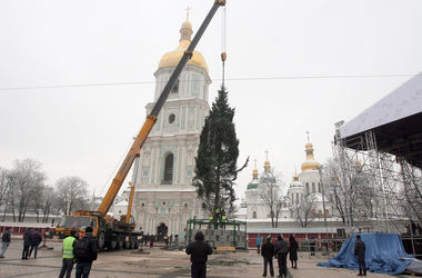 В центре Киева начали установку новогодней елки