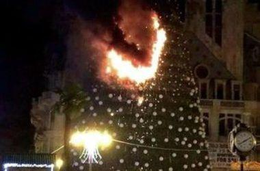 В Батуми сгорела главная новогодняя елка