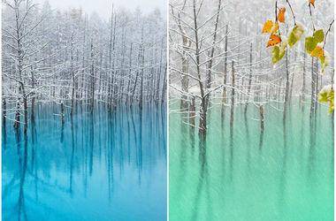 В Японии есть озеро, которое меняет цвет