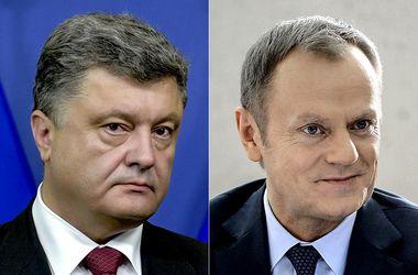 Порошенко и Туск обсудили принятие дорожной карты по отводу тяжелого вооружения и войск от линии разграничения