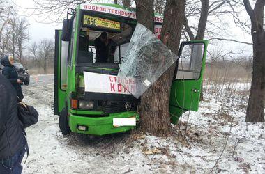 Под Харьковом автобус с людьми влетел в дерево