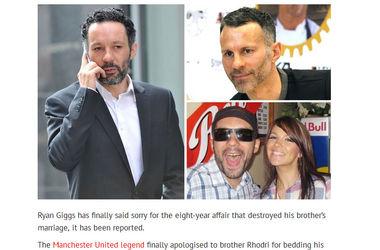 """Легенда """"МЮ"""" Райан Гиггз извинился перед своим братом за то, что восемь лет спал с его женой"""