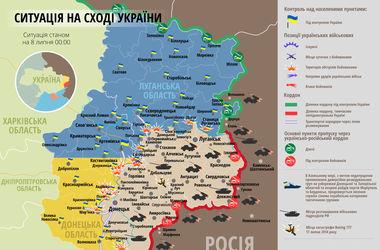 """Самые """"горячие"""" точки Донбасса 8 июля: интерактивная карта боев и обстрелов"""